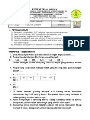Soal Calistung Kelas 3 Sd Pdf : calistung, kelas, CALISTUNG, KELAS
