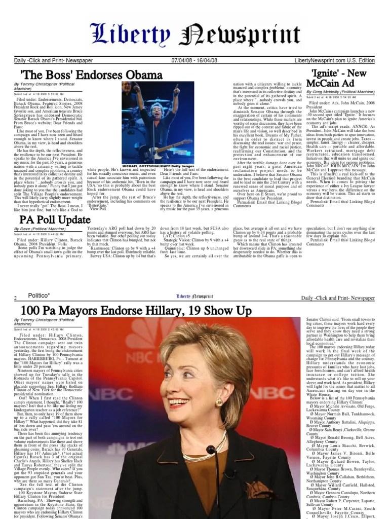 LibertyNewsprint 4 16 08 Edition Citigroup Hillary Clinton