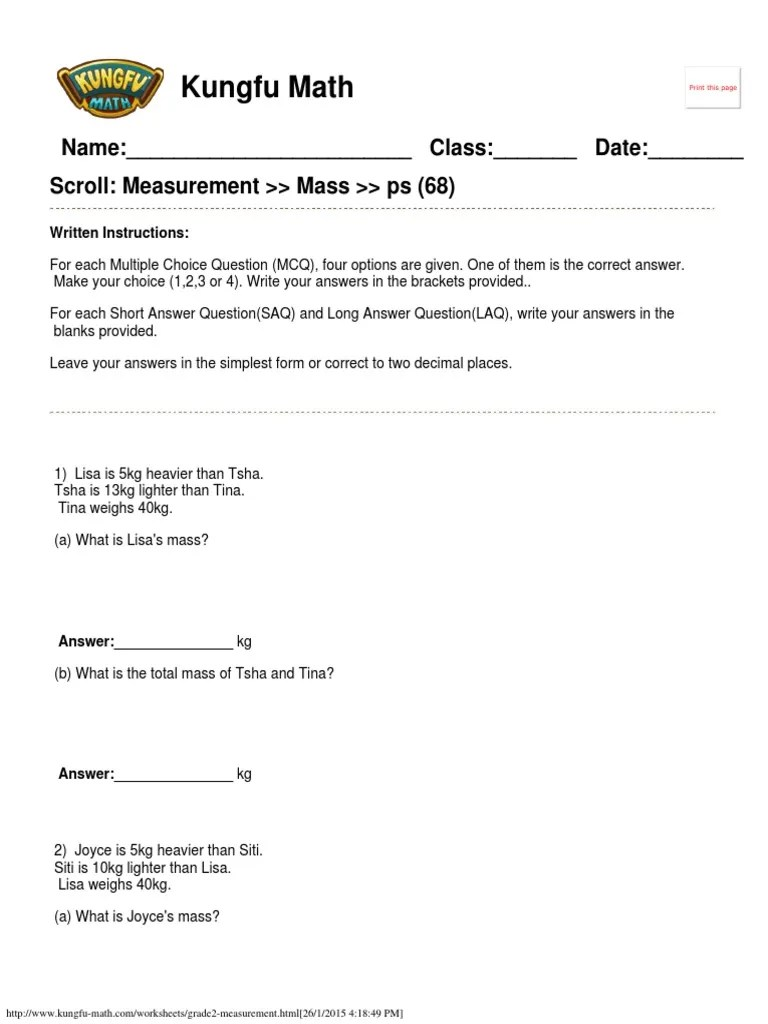 Singapore Math Worksheets Grade 2 Measurement www.kungfu-math.com    Teaching Mathematics   Further Education [ 1024 x 768 Pixel ]