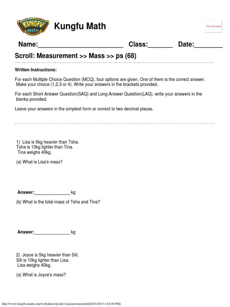medium resolution of Singapore Math Worksheets Grade 2 Measurement www.kungfu-math.com    Teaching Mathematics   Further Education