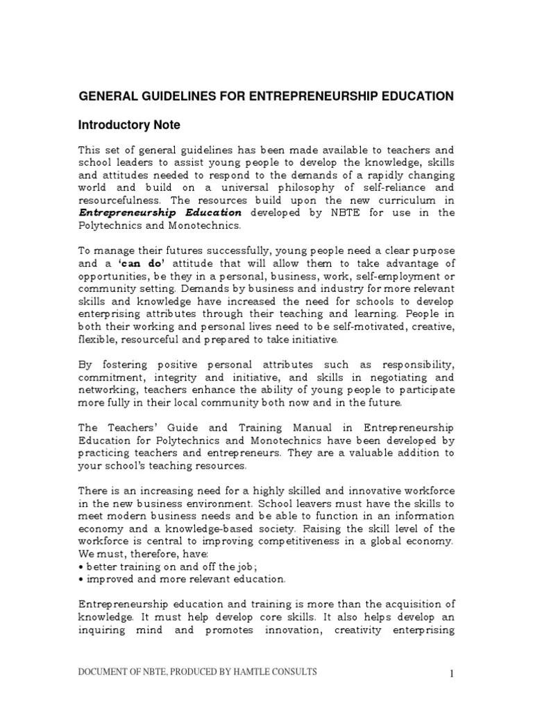 Guidelines For Entrepreneurship Education Business Incubator Entrepreneurship