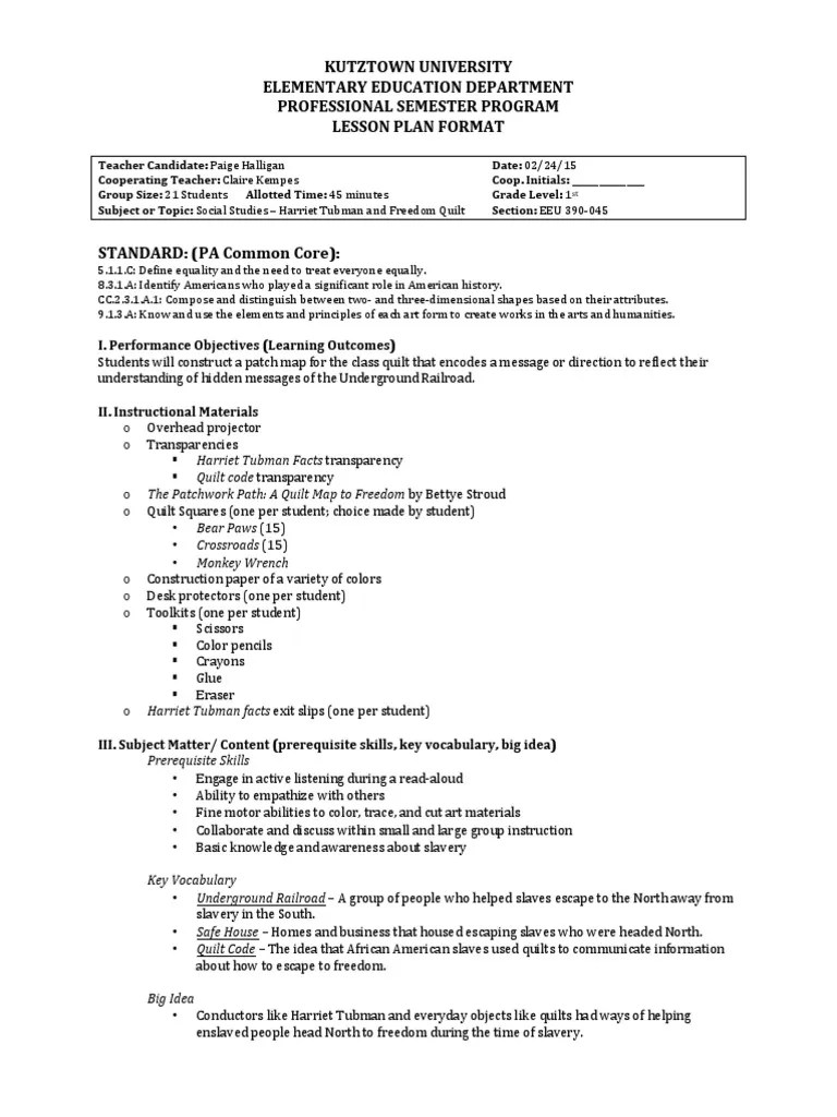 small resolution of harriet tubman lesson plan   Patchwork   Educational Assessment