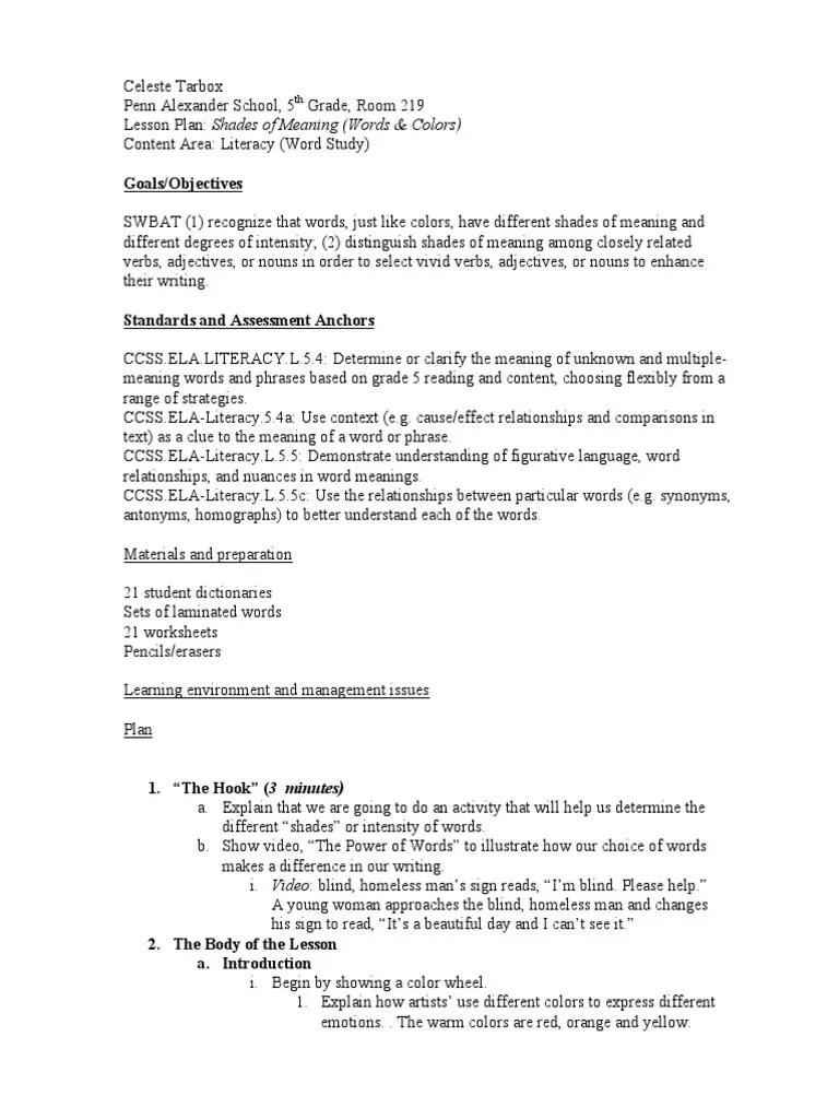 hight resolution of lesson plan shades of meaning   Lesson Plan   Color