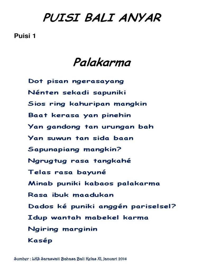 Pantun Bahasa Bali : pantun, bahasa, Puisi, Anyar, Cute766