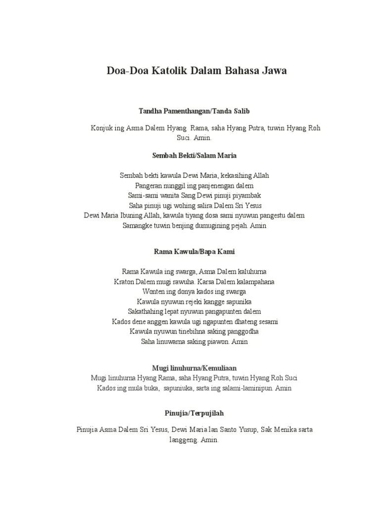 Doa Bahasa Jawa : bahasa, Tugas, Agama, Katolik, Dalam, Bahasa