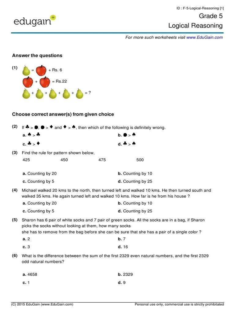 Grade5-Logical-Reasoning.pdf   Teaching Mathematics [ 1024 x 768 Pixel ]