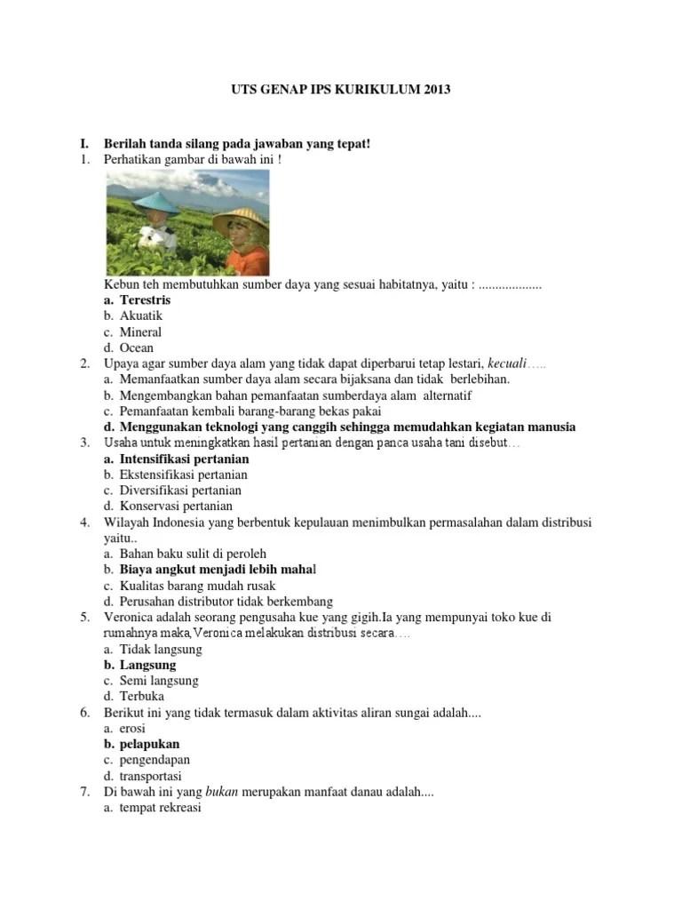 Soal Ips Kelas 7 Semester 1 Dan Kunci Jawaban Pilihan Ganda Kurikulum 2013 : kelas, semester, kunci, jawaban, pilihan, ganda, kurikulum, Genap, Kelas, Kurikulum