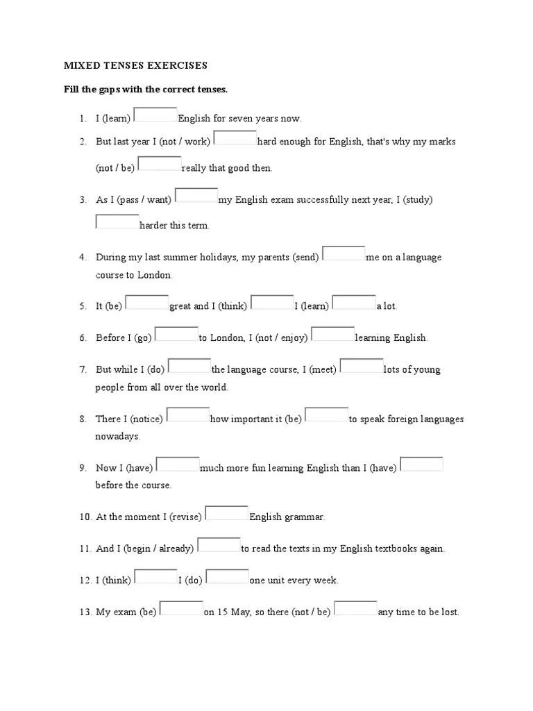 medium resolution of Mixed Tenses Exercises   English Language   Verb