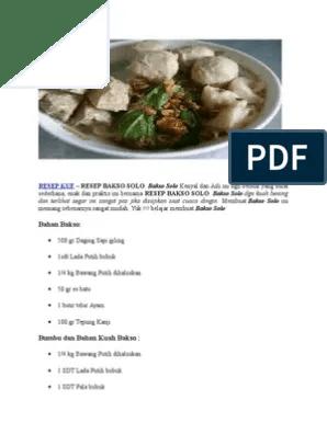 Bumbu Kuah Bakso Solo : bumbu, bakso, Resep, Bakso