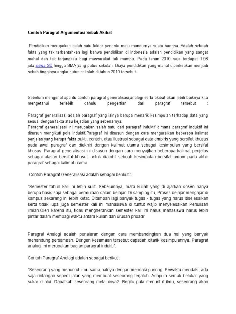 Paragraf Argumentasi Sebab Akibat : paragraf, argumentasi, sebab, akibat, Contoh, Paragraf, Argumentasi, Sebab, Akibat.docx