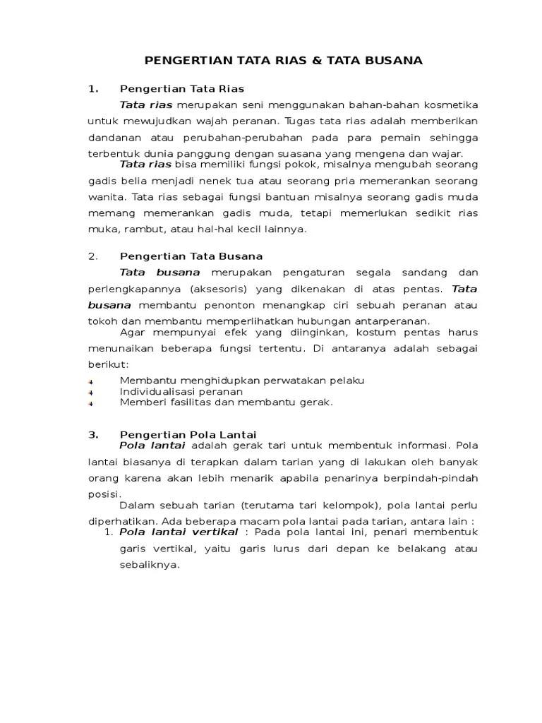 Pengertian Rias : pengertian, Busana.docx