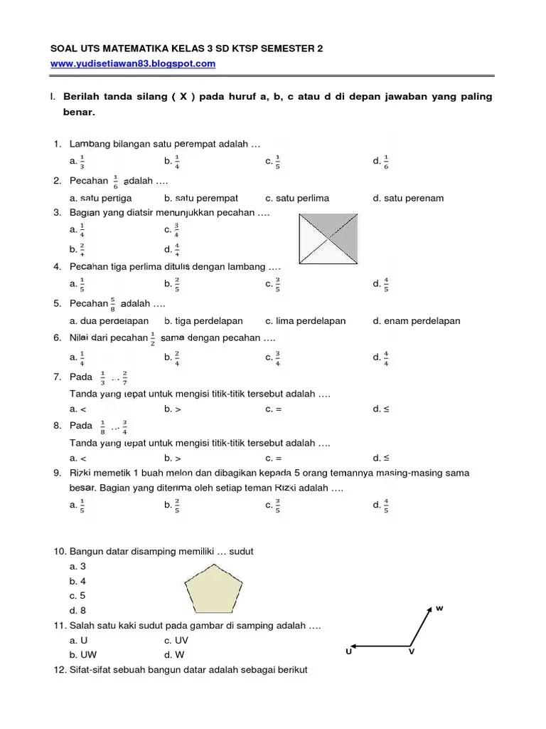 Soal Uts Matematika Kelas 3 Sd Semester 2 Dan Jawabannya : matematika, kelas, semester, jawabannya, Matematika, Kelas, Semester