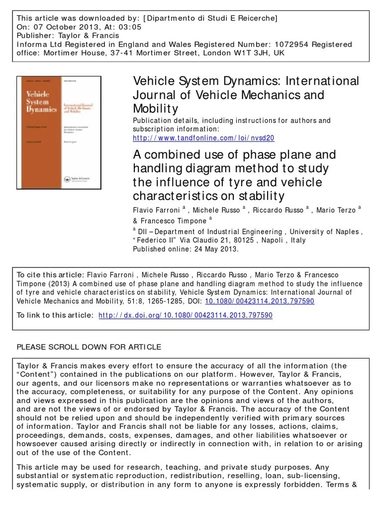 small resolution of a combined use of phase plane and handling diagram method to study the influence of tyre and vehicle characteristics on stability flight dynamics fixed