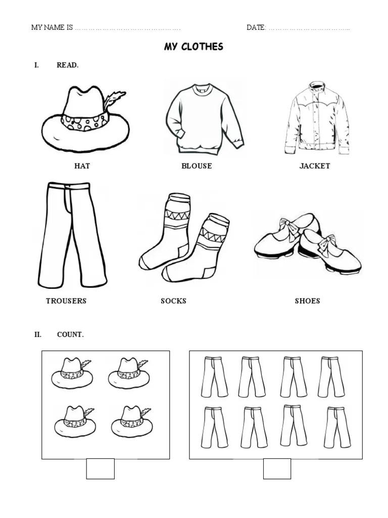 Clothes - Worksheet [ 1024 x 768 Pixel ]