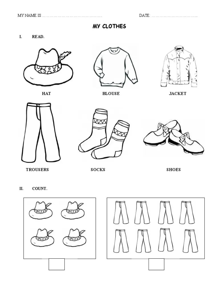 hight resolution of Clothes - Worksheet