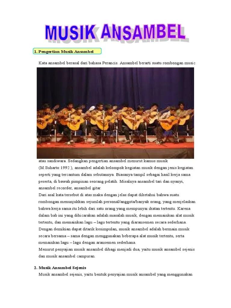Arti Musik Ansambel : musik, ansambel, Pengertian, Musik, Ansambel