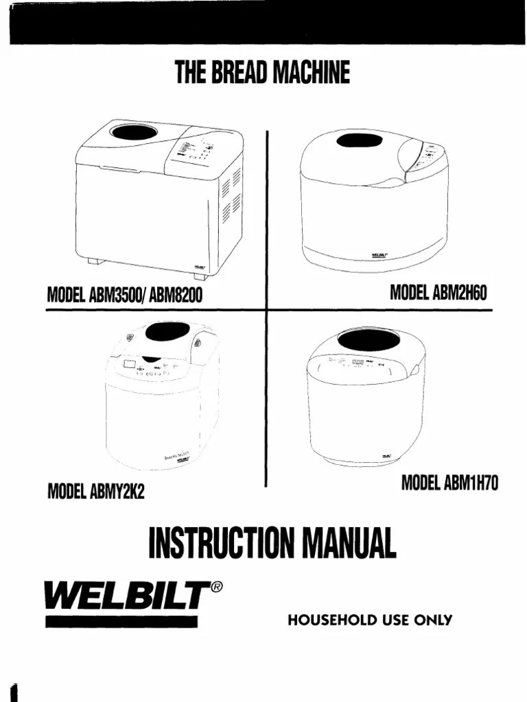 Complete Welbilt Bread Machine Manuals