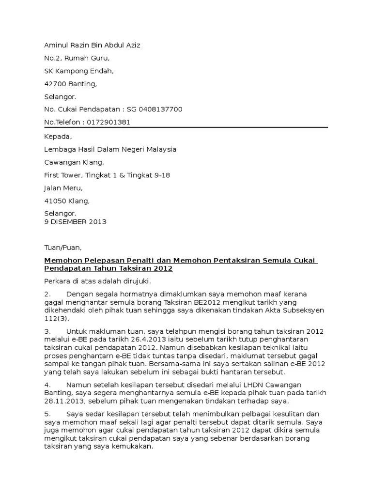 Contoh Surat Rasmi Lhdn Gg Contoh Cuitan Dokter