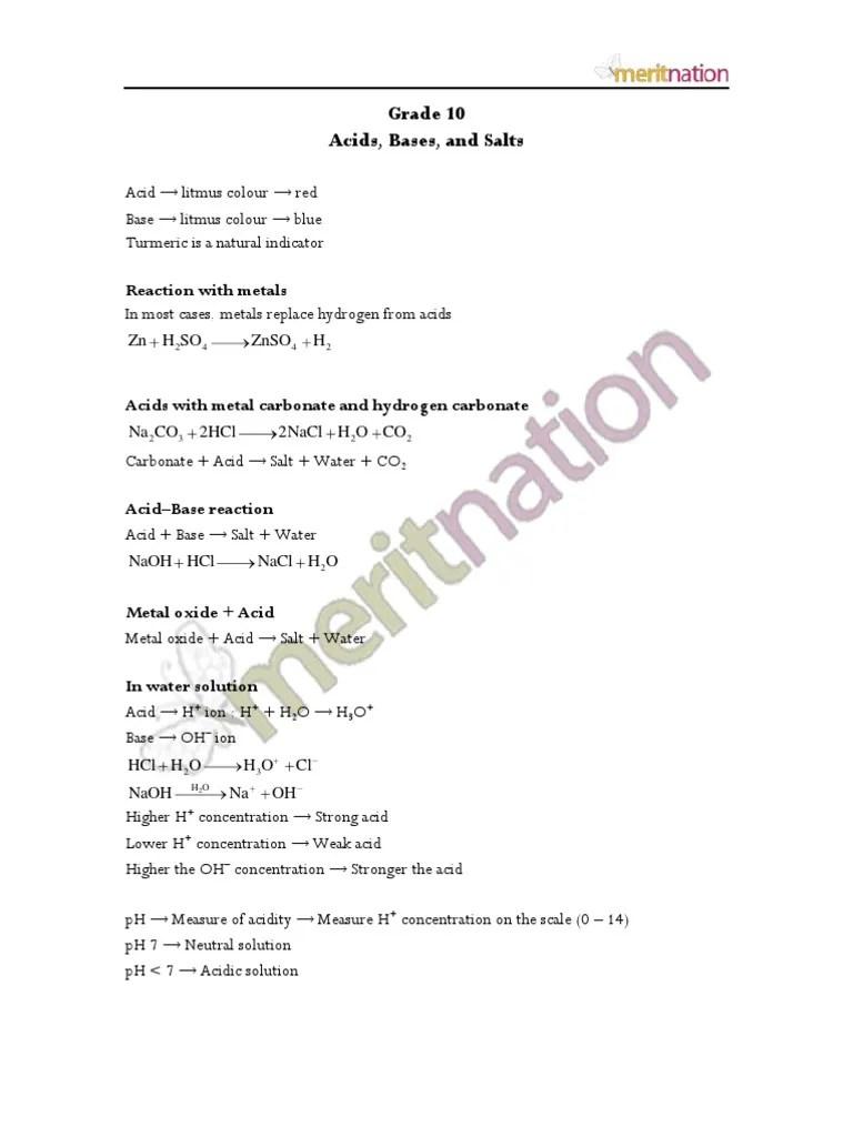 medium resolution of Acids Bases and Salts Revision Notes   Sodium Bicarbonate   Ph