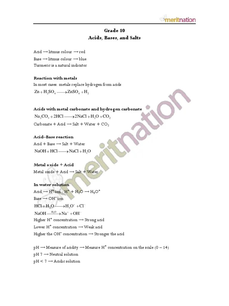 small resolution of Acids Bases and Salts Revision Notes   Sodium Bicarbonate   Ph