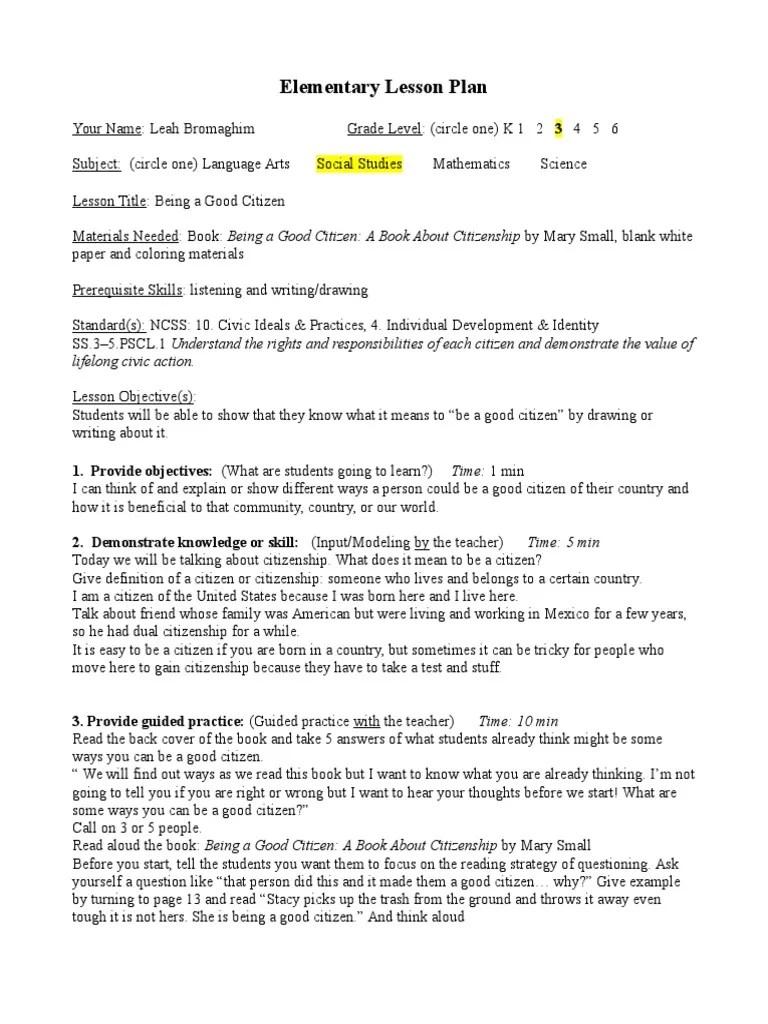 3rd Grade Citizenship Social Studies Lesson Plan   Citizenship   Lesson Plan [ 1024 x 768 Pixel ]