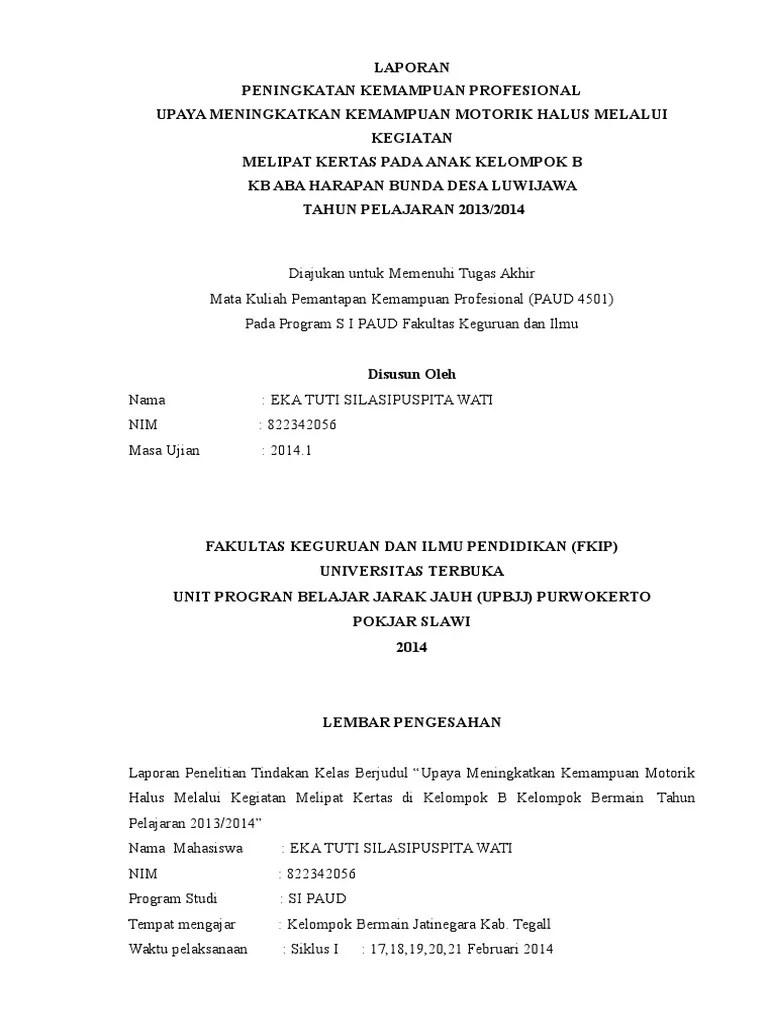 Contoh Proposal Ptk Paud Pengembangan Motorik Halus Berbagi Contoh Proposal Cute766