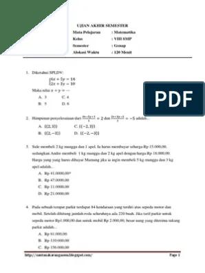 Soal Uas Matematika Kelas 8 Semester 1 Kurikulum 2013 : matematika, kelas, semester, kurikulum, Matematika, Kelas