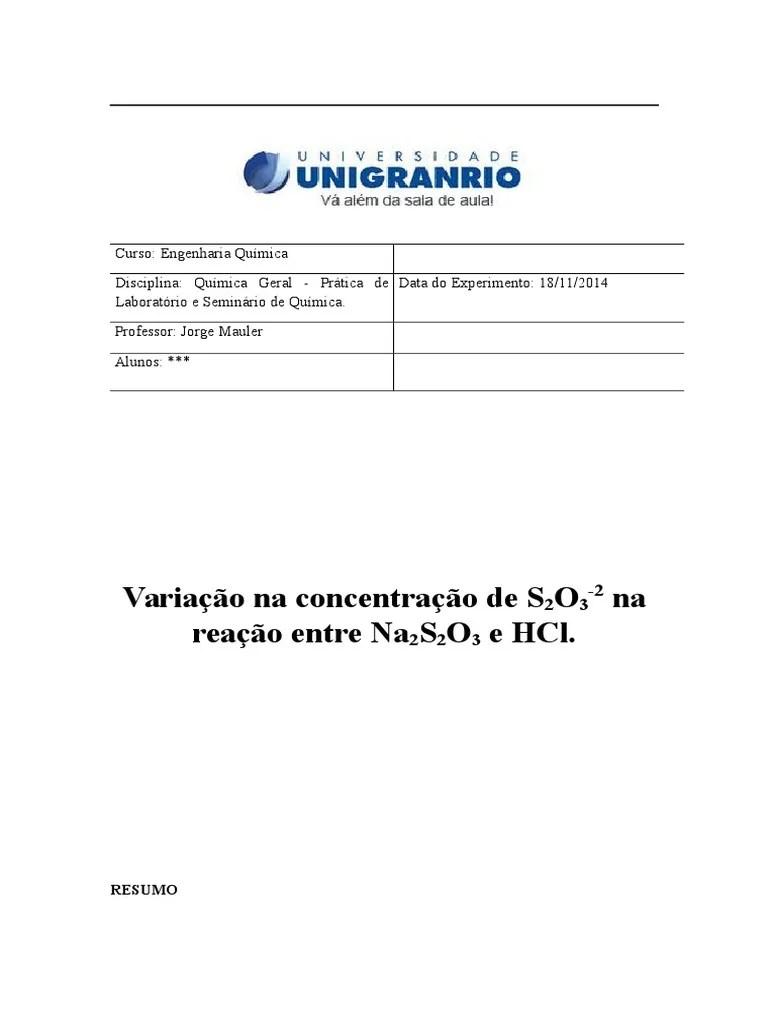 Variação na concentração de S2O3-2 na reação entre Na2S2O3 e HCl. | Reações Químicas | Tempo