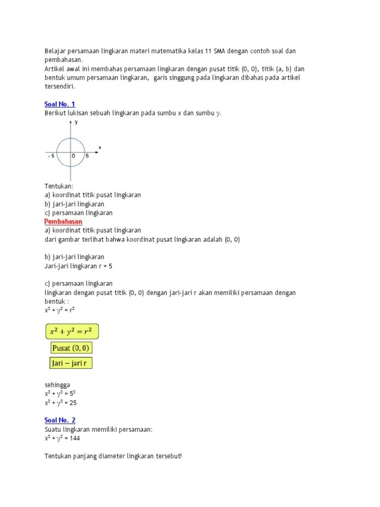 Contoh Soal Lingkaran Kelas 11 : contoh, lingkaran, kelas, Belajar, Persamaan, Lingkaran, Materi, Matematika, Kelas, Dengan, Contoh, Pembahasan