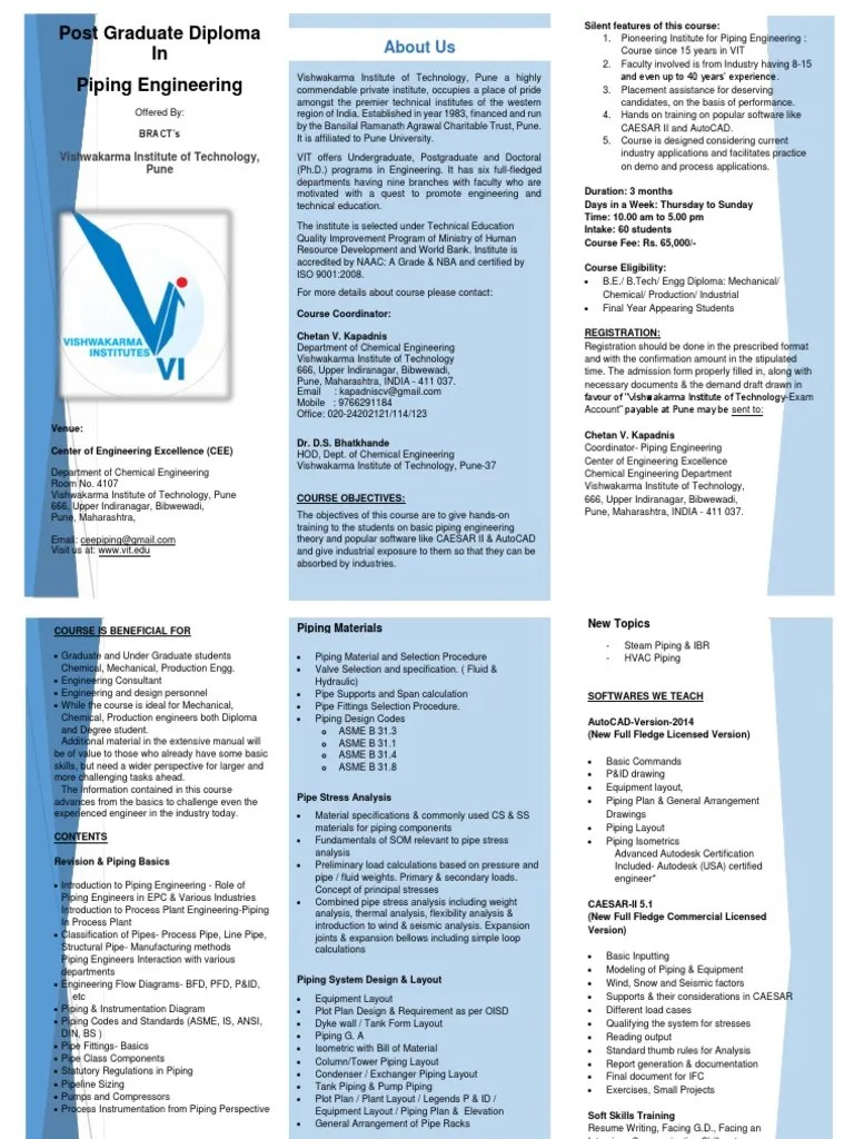 medium resolution of vit piping engineering course syllabus brochure pipe fluid conveyance institute of technology