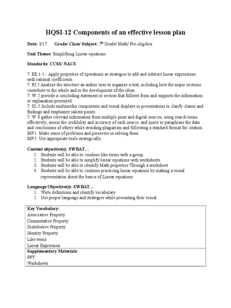 hqsi docx 7th grade lesson plan math   Worksheet   Equations [ 1024 x 768 Pixel ]