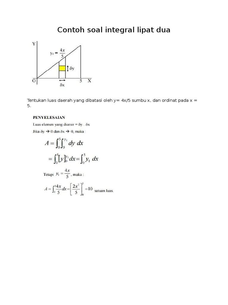 Berikut terlampir contoh soal beserta penjelasannya. Soal Kalkulus Integral Kami
