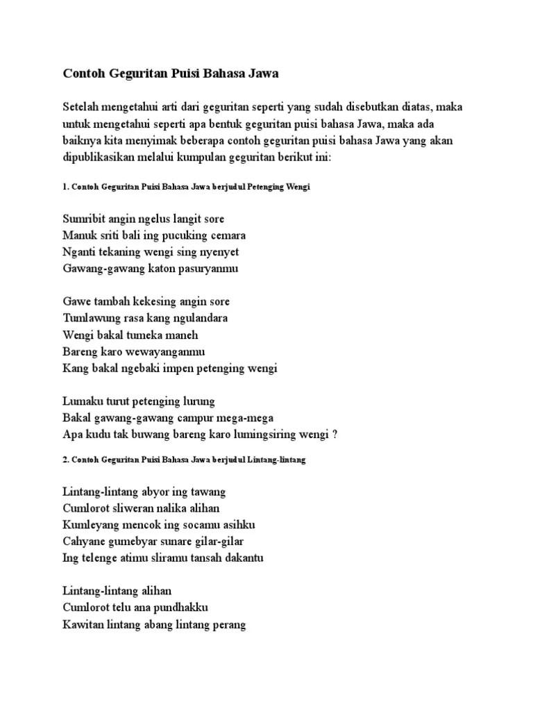 Puisi Bahasa Jawa Tentang Lingkungan : puisi, bahasa, tentang, lingkungan, Contoh, Geguritan, Puisi, Bahasa, Krumpuls, Cute766