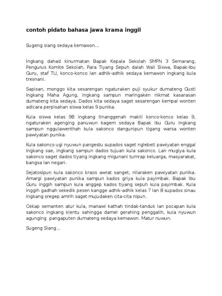 Pidato Bahasa Jawa Krama : pidato, bahasa, krama, Contoh, Pidato, Bahasa, Krama, Inggil