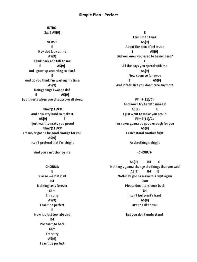 Chord Simple Plan Welcome To My Life : chord, simple, welcome, Perfect, Simple, Chords