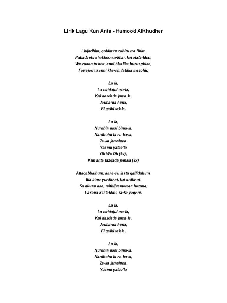 Youtube Kun Anta Lirik : youtube, lirik, Lirik, Latin, Gambar, Ngetrend, VIRAL