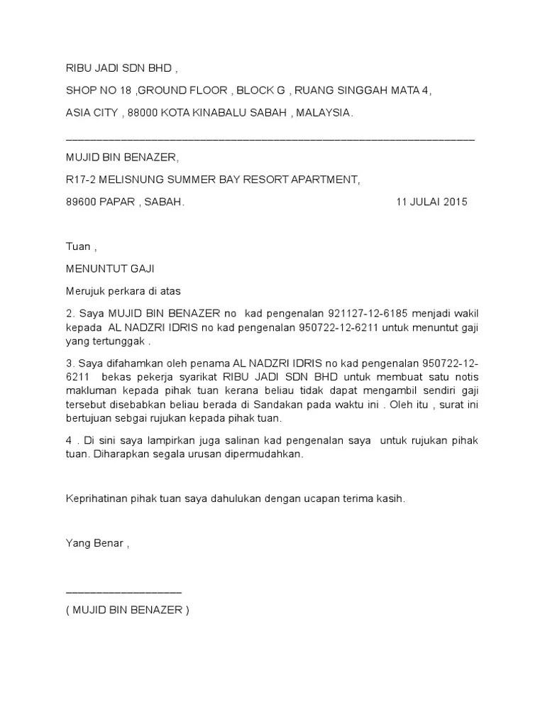 Contoh Surat Rasmi Tuntutan Bayaran Contoh Kertas Cute766