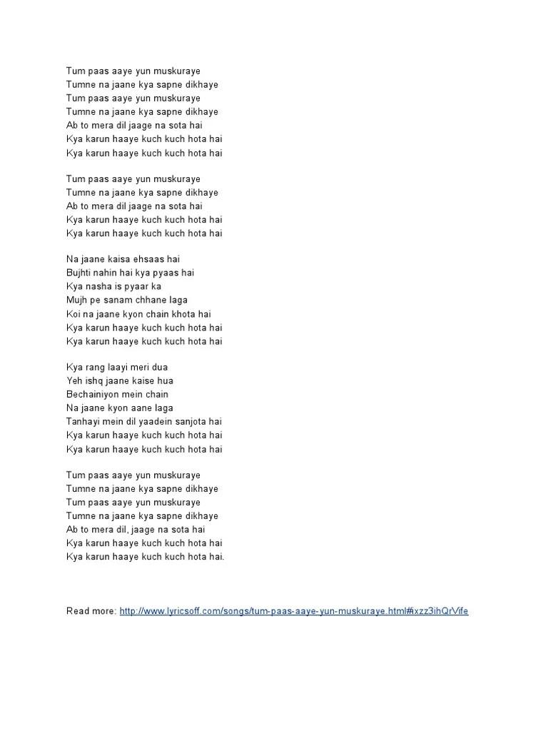 Lirik Lagu Kuch Kuch Hota Hai : lirik, Songs