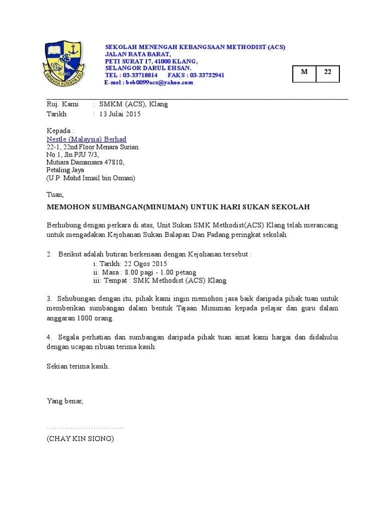 Surat Mohon Tajaan Milo Cute766