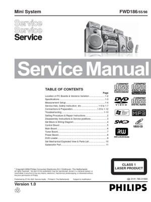 Philips FWD186 Service Manual, Repair Schematics, Online Download   Gramophone Record