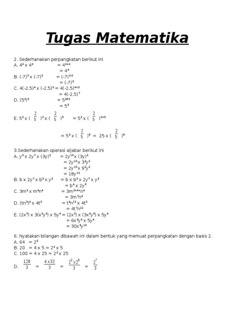 Sederhanakan Operasi Perpangkatan Berikut : sederhanakan, operasi, perpangkatan, berikut, Tugas, Matematika