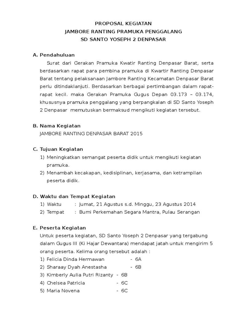 Contoh Penutup Proposal Kegiatan Pramuka : contoh, penutup, proposal, kegiatan, pramuka, Proposal, Kegiatan, Jambore, Ranting