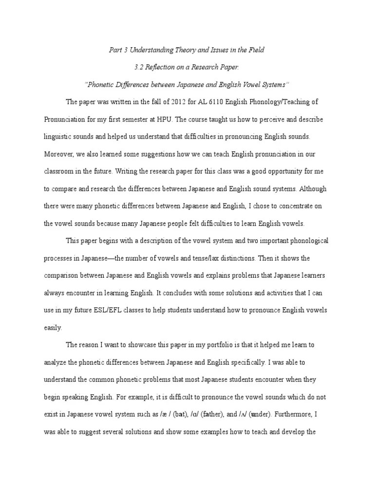 Part 3 2 Reflection On Another Research Paper Phonology Final