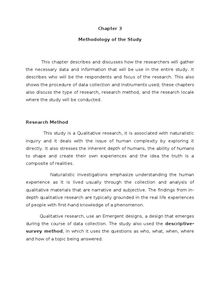 Chapter 3 Methodology Of The Study