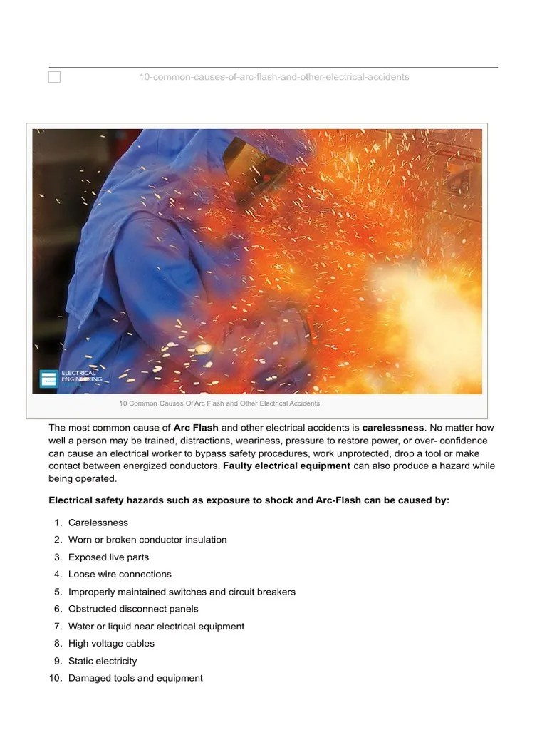 10 Common Causes of Arc Flash and Other Electrical ...