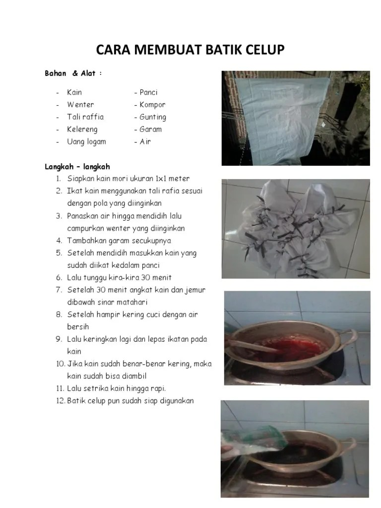 Langkah-langkah Pembuatan Batik : langkah-langkah, pembuatan, batik, Membuat, Batik, Celup:, Bahan