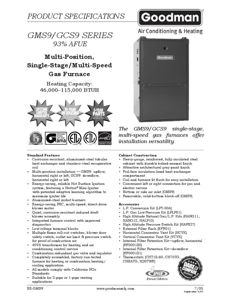 medium resolution of goodman furnace model gms90703bxa wiring diagram