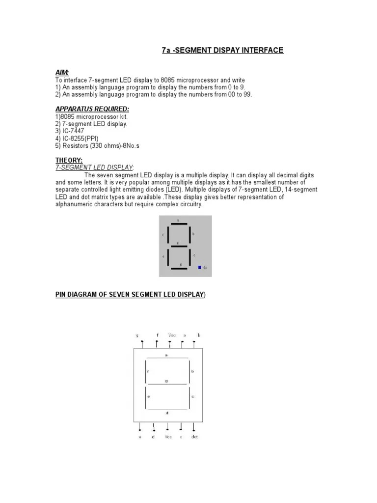 small resolution of led display pin diagram