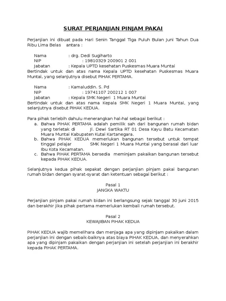Perjanjian Pinjam Pakai : perjanjian, pinjam, pakai, Surat, Perjanjian, Pinjam, Pakai
