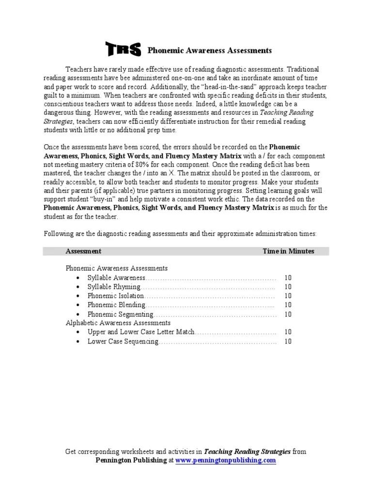 small resolution of phonemic awareness assessments   Phonics   Educational Assessment